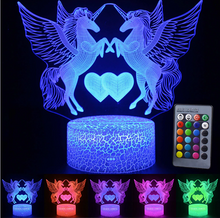 Load image into Gallery viewer, Unicorn Hearts 3D Lamp