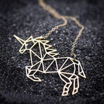 Collier Licorne Origami Or