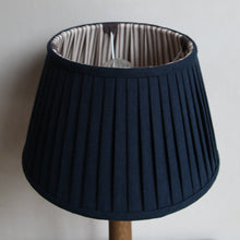 "Load image into Gallery viewer, Pleated lampshade ""Ink Blue / Chocolate"""
