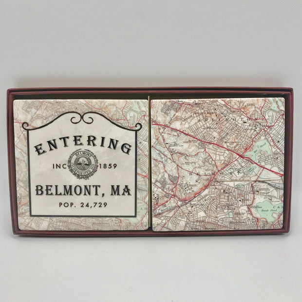 Handcrafted Entering Belmont Coaster Set/2