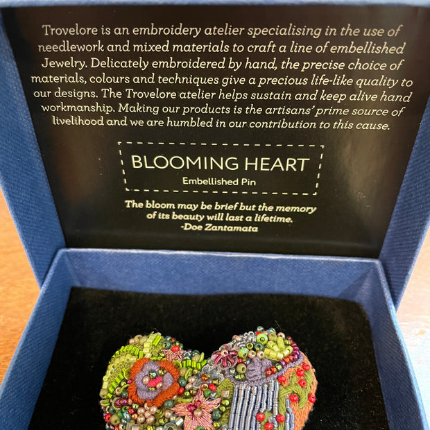 Handcrafted Blooming Heart Pin