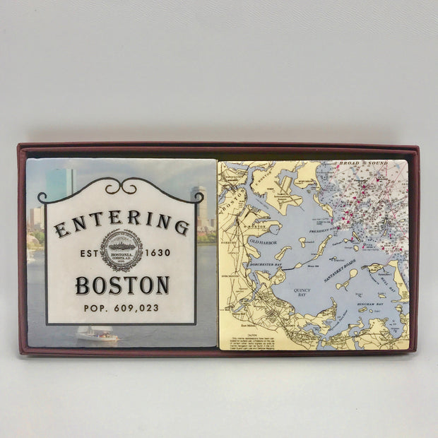 Handcrafted Entering Boston Coaster Set/2