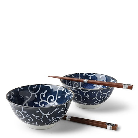 Noodles For 2 Blue Vine Pattern Gift Set