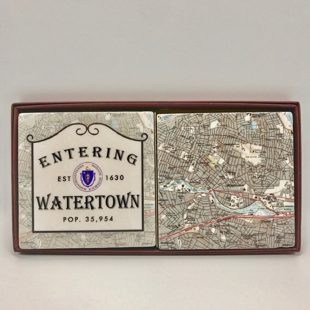 Handcrafted Entering Watertown Coaster Set/2