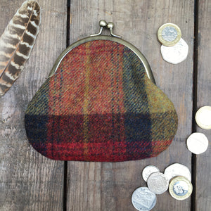 IRIS Red Check Clipped Purse
