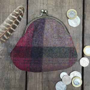 IRIS Purple Check Clipped Purse