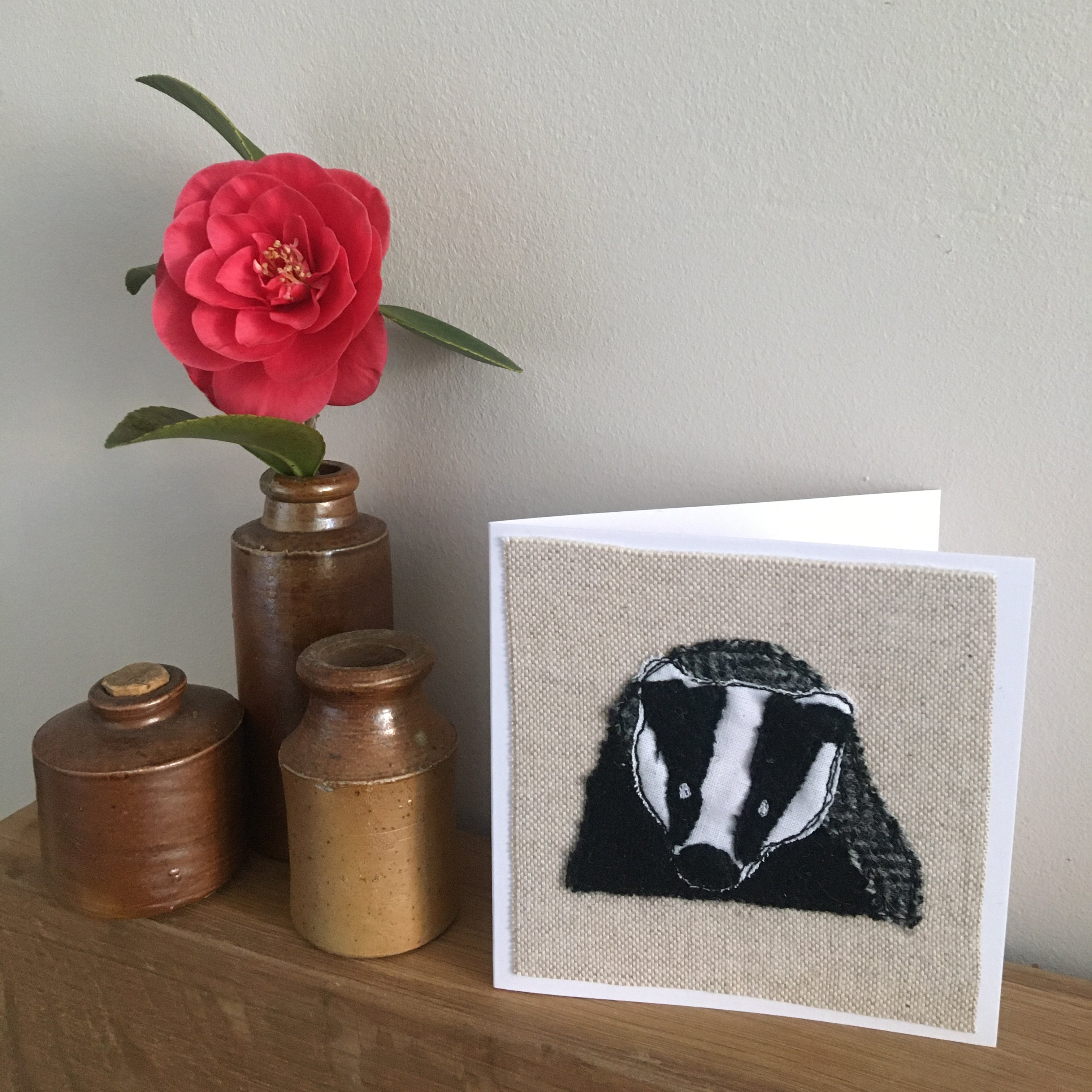 BARNABY Badger Stitched Card