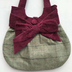 GRACIE Green Tweed Bow Bag