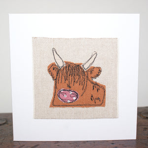 Highland Cow Stitched Card