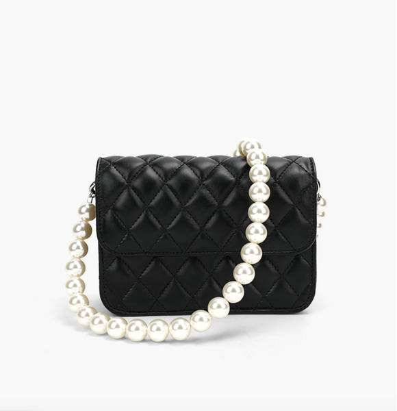 Elegant Shoulder Bag with Pearls Chain 優雅珍珠鏈單肩小包