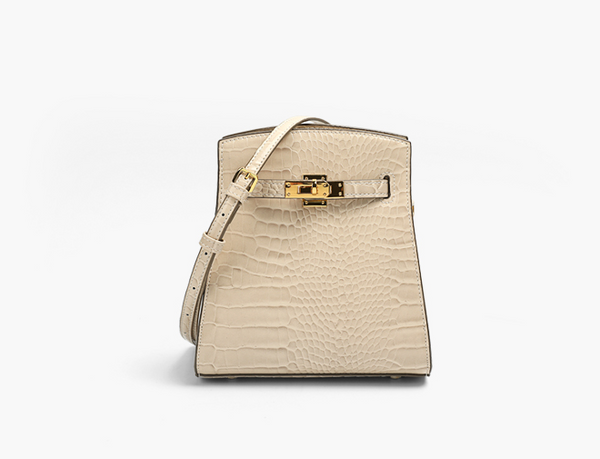 Elegant Small Size Crossbody Bag 簡約梯形鱷魚紋包