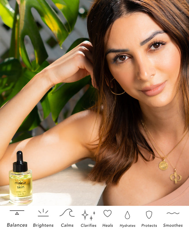 Woman with glowing skin using natural glow facial oil
