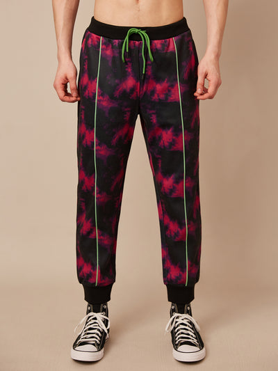 Pink Glo Tie Dye Piped Jogger