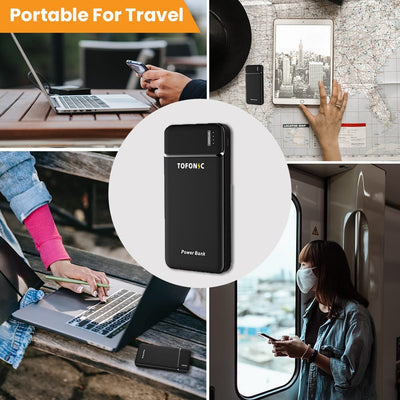 Tofonic Portable Charger – High Speed 10000 mAh Power Bank – Slimmest, Lightest, Dual Input & Dual 2.1A Output Quick Charging – 2 USB Ports for iPhone, iPad, Samsung Galaxy, Android and Other Smart Devices