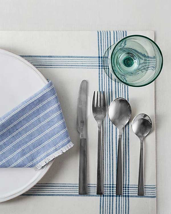 Daburu Stripe Dinner Napkins (Set of 6) - Blue
