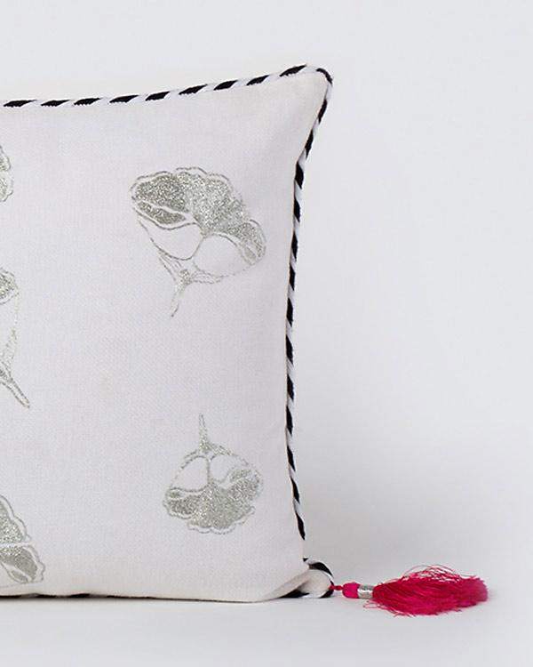 Frangipani Embroidered Cushion - Silver