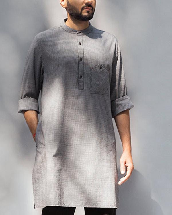 Kazim Check Kurta - Black & White