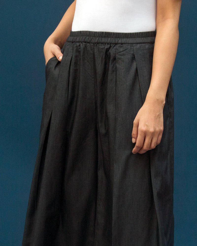 Deep Pleat Front Bottom - Charcoal