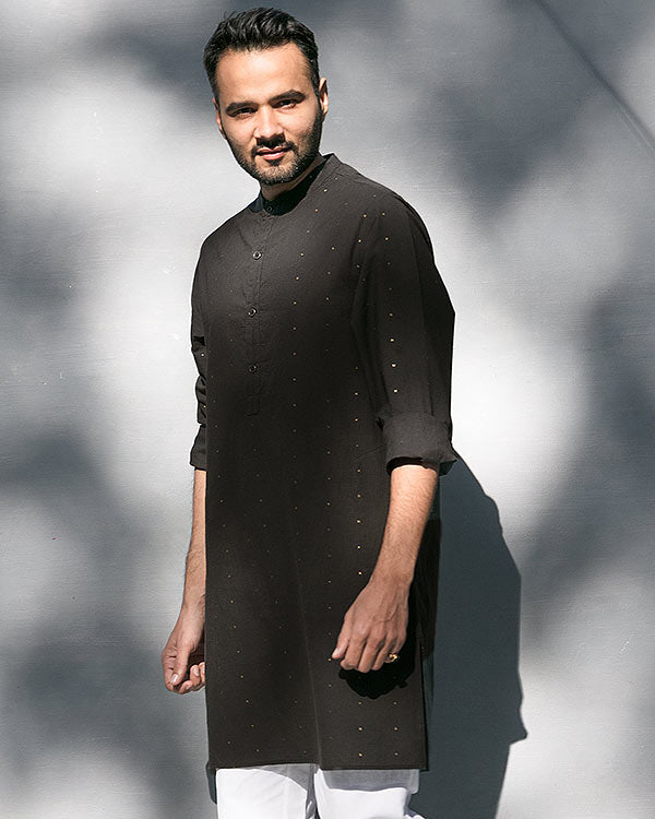 Chandni Chowk Stripe Kurta - Black & Charcoal