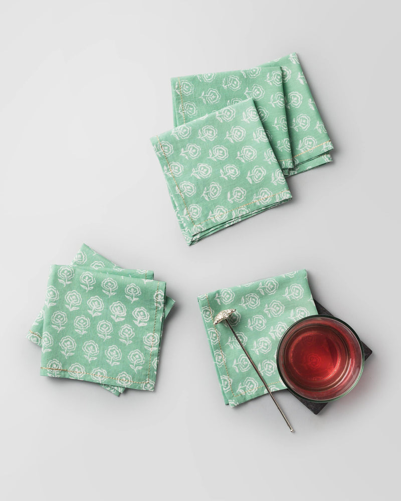 Hana Cocktail Napkins (Set of 6) - White