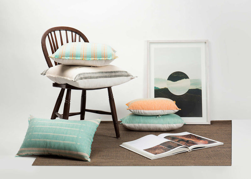 Ber Ber Stripe Cushion - Aqua