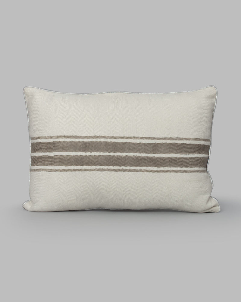 Alleppey French Stripes Pillow - Ivory & Soft Grey