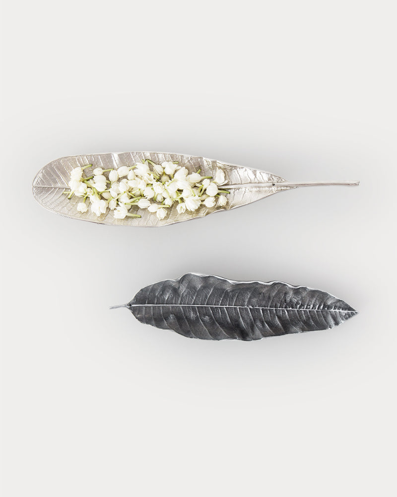 Mango Leaf Incense Holder - Antique Silver