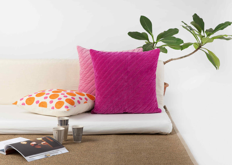 Tangier Velvet Cushion - Berry