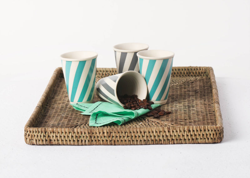 Lotus Aqua Candy Stripe Kulhar (Set of 4)