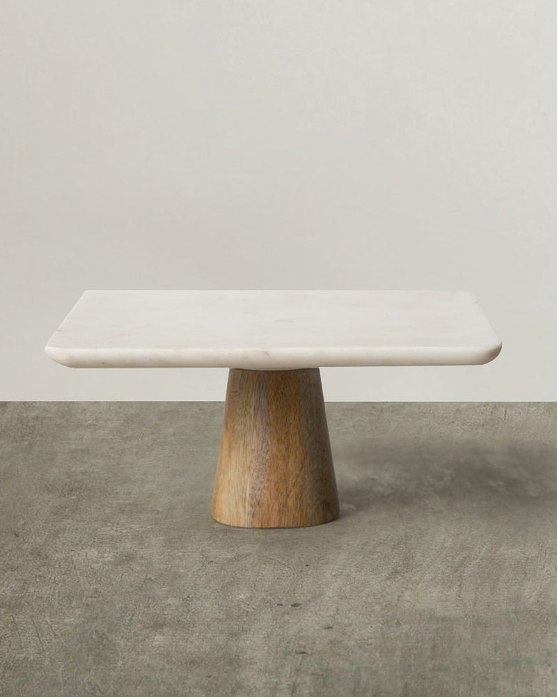 Marble & Wood Cake Stand - Large