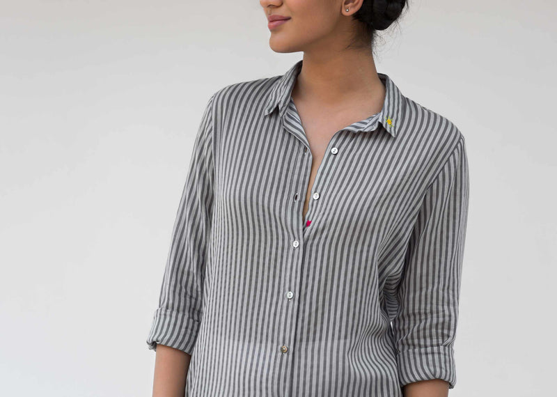 Front Open Stripe Top