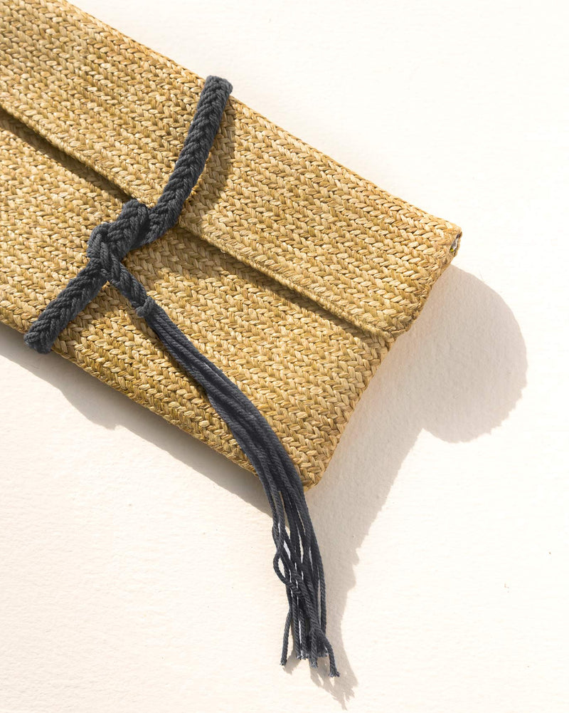 Raffia Flap Clutch - Blue