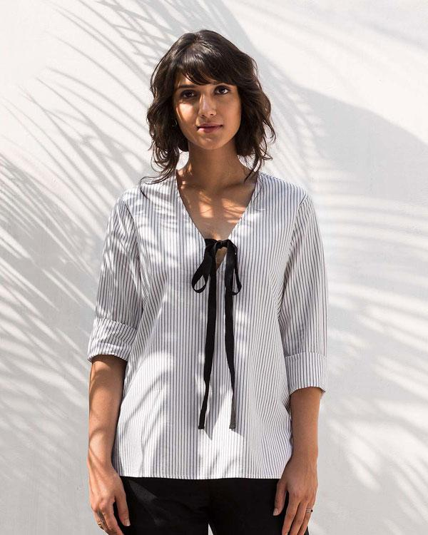 Twill Tie Stripe Top
