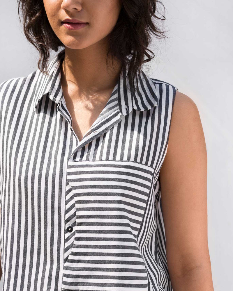 Front Patch Stripe Pocket Top