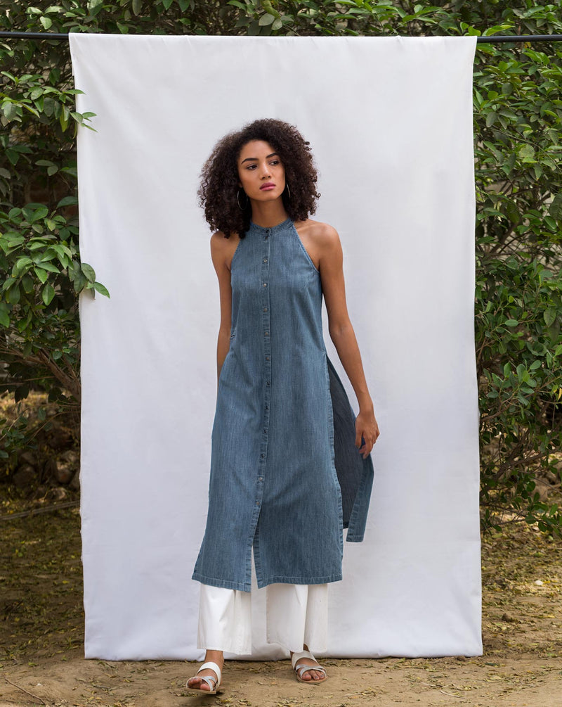 Racer Neck Kurta - Denim