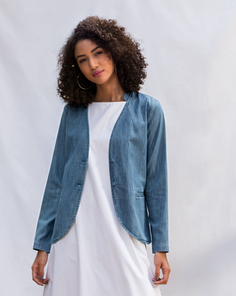 Mandarin Collar Jacket - Denim