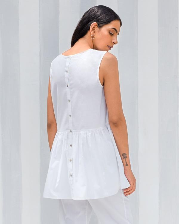 Sleeveless Gather Top - White