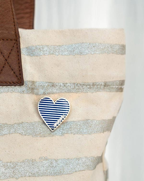 Stripey Heart Pin