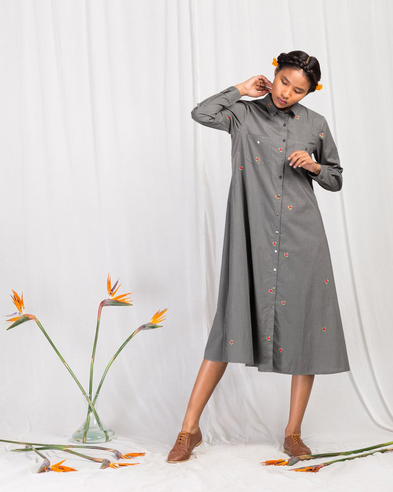 Patch Pocket Dress - Grey