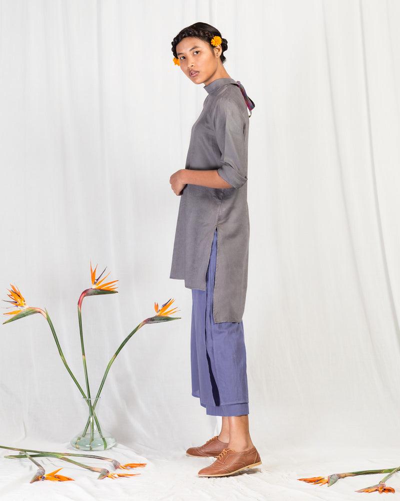 Back Tie Top - Grey