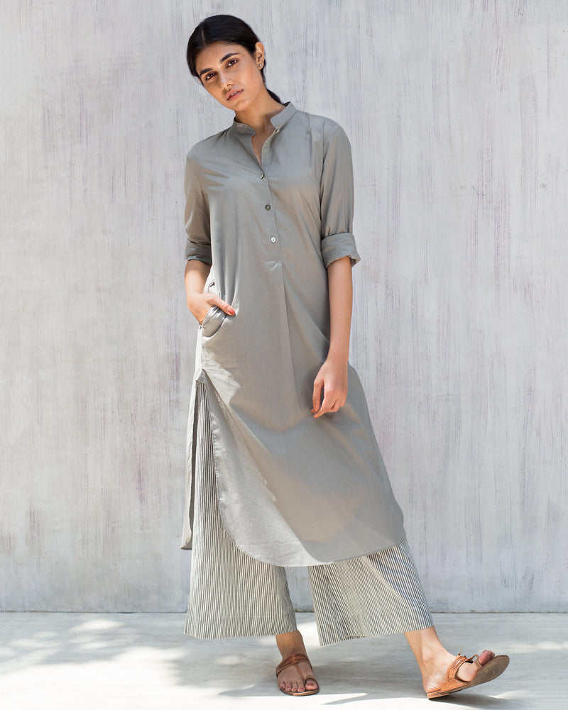 Basic Long Kurta - Grey