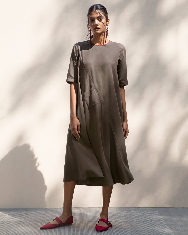 Side Band Kurta - Charcoal