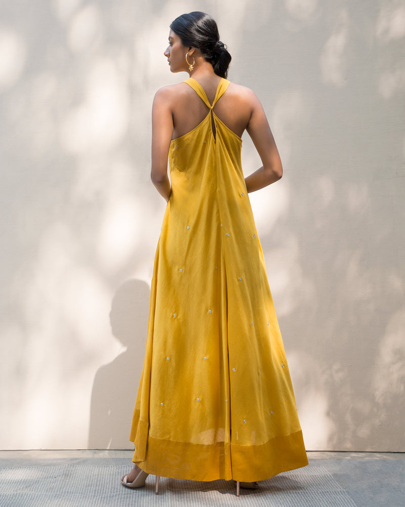 Akira Twist Back Dress - Yellow