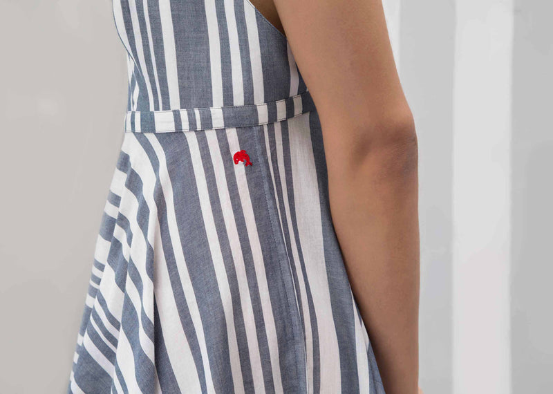 Empire Maxi Stripe Dress - Blue
