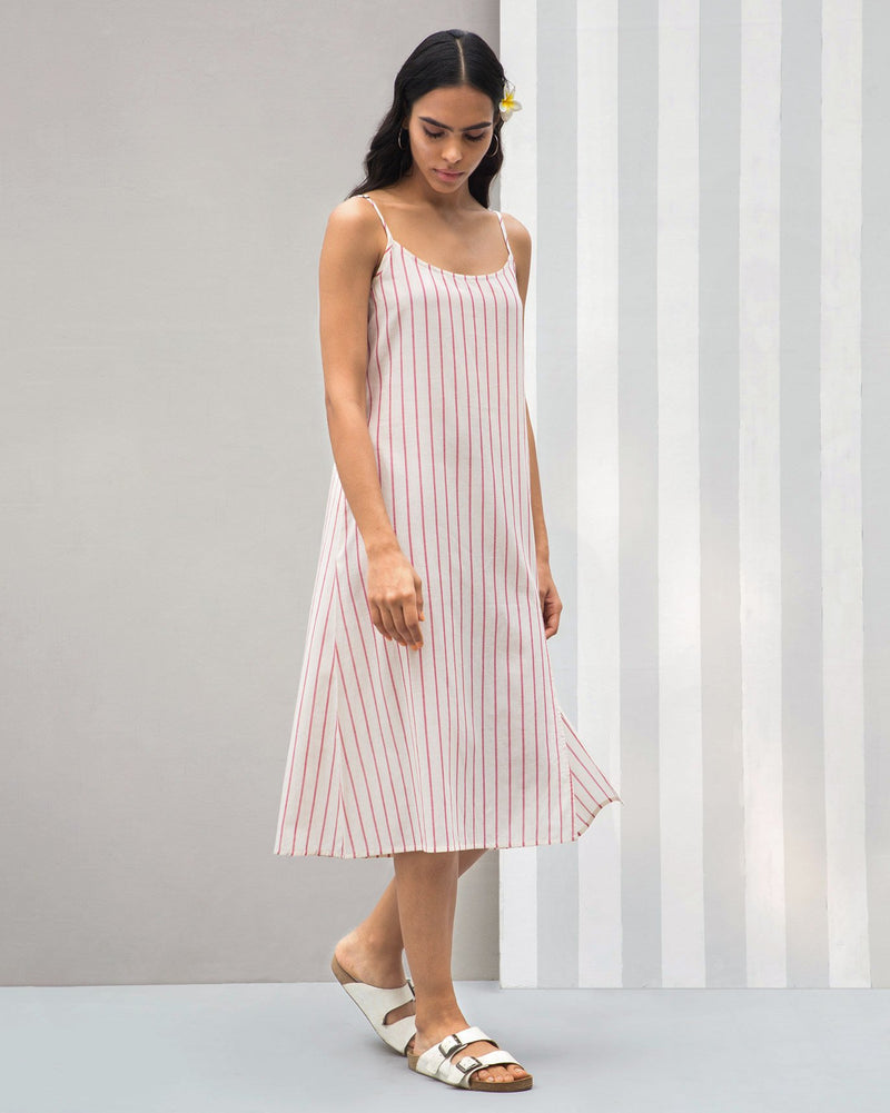 Side Slit Stripe Dress - Red
