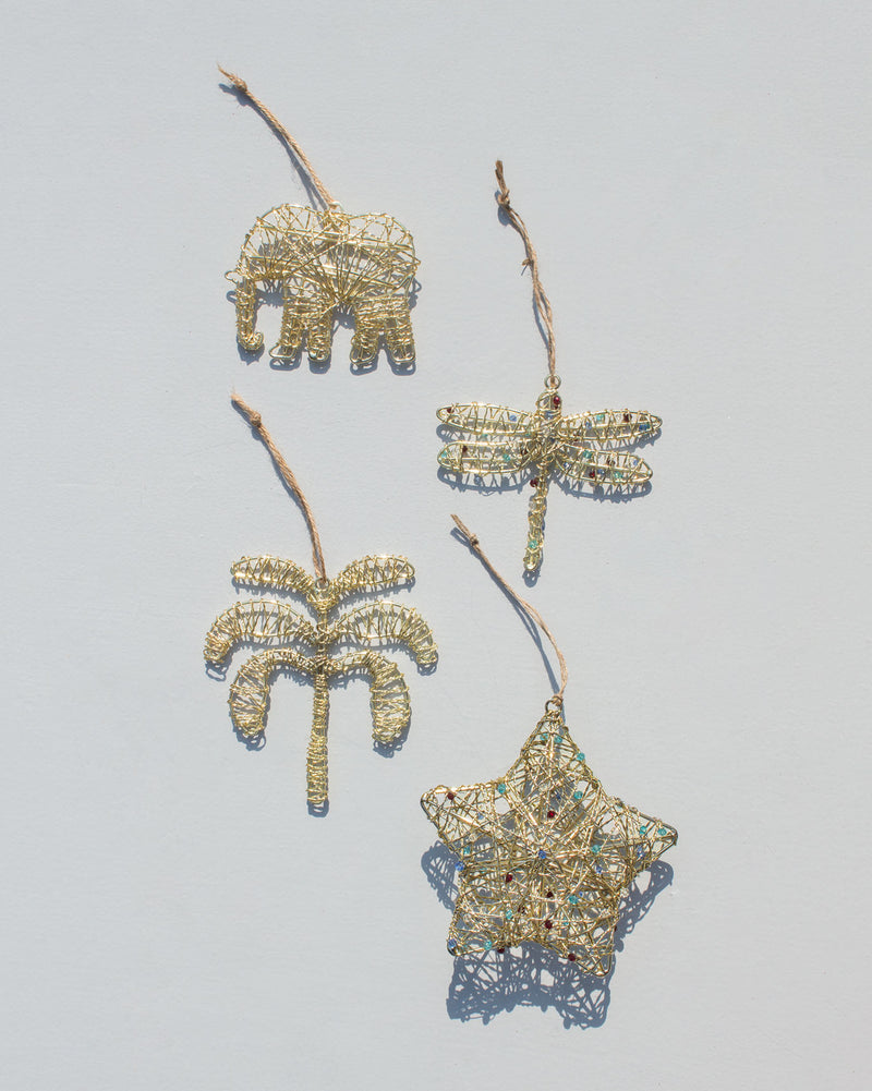 Gold Christmas Ornament Set