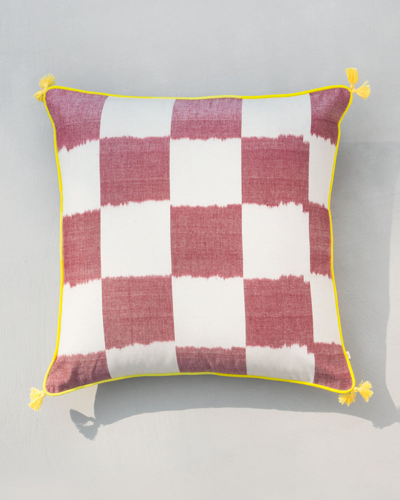 Square Ikat Cushion - Red