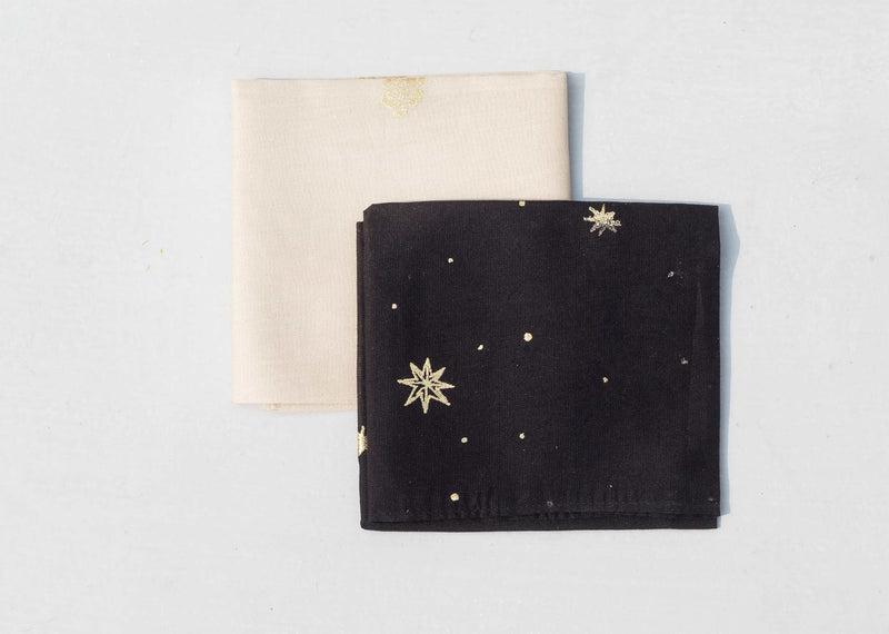 Peony & Stars Pocket Square - Ivory & Black(Set of 2)