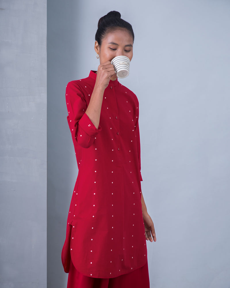 Basic Mid-Length Kurta - Red