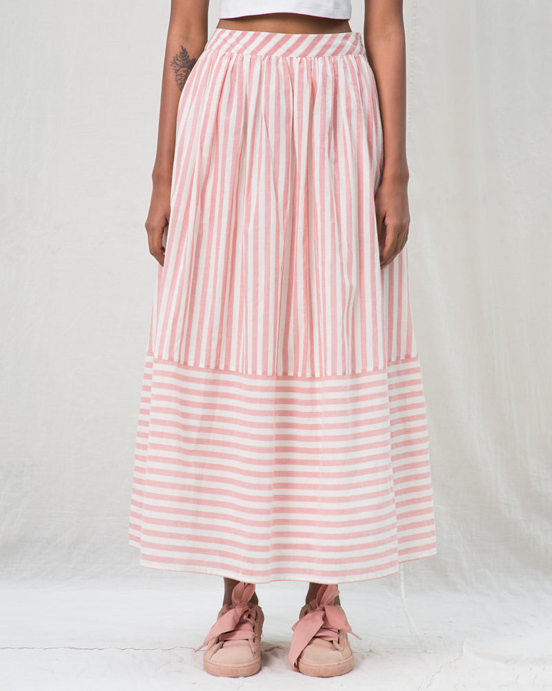 A-line Stripe Skirt - Pink